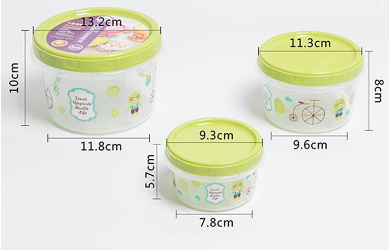 3pcs Set Cartoon Food Containers With Lid Reusable Microwavable Plastic Container Round Storage Bo Bins Za4802 In From Home