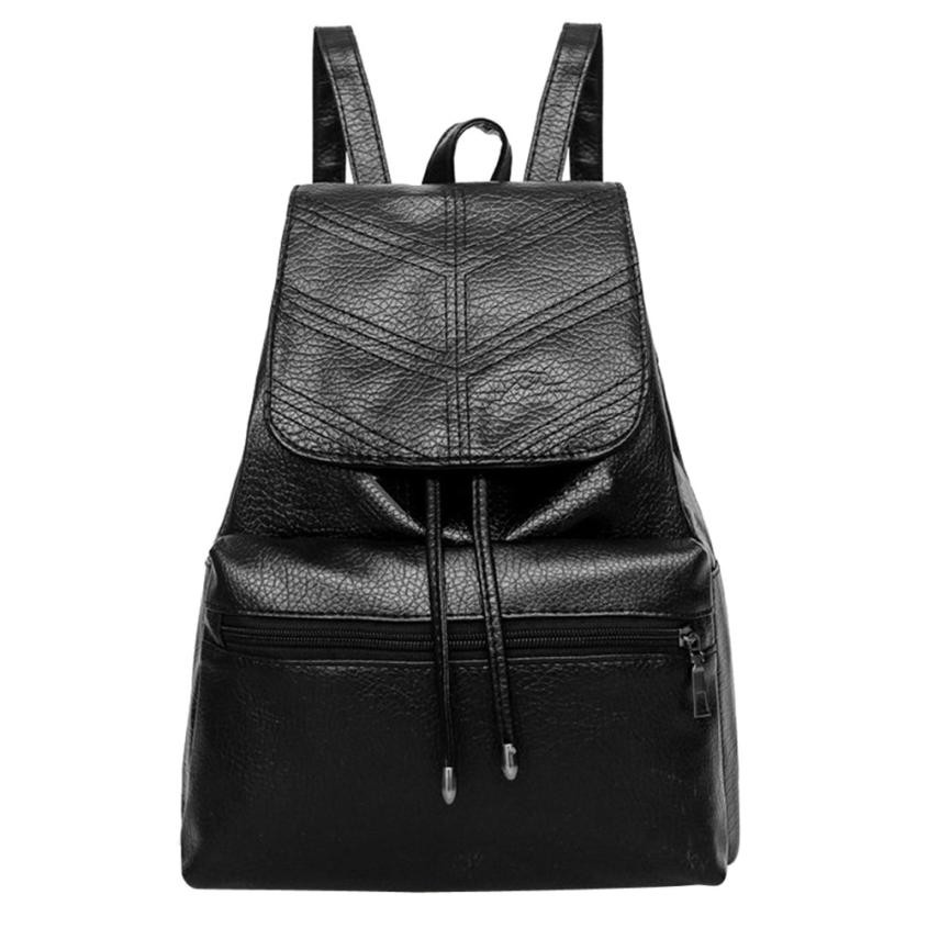 Classic Leather Drawstring Flap Zipper Backpack Women School Travel Backpack Anti Theft Backpacks Casual Daypack Rucksack #30