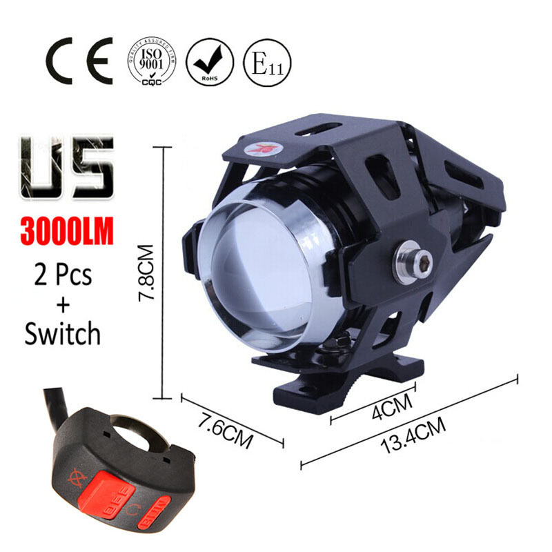 1 pair 125W Motorcycle Headlight Motorbike spotlight 3000LM Motos CREE U5 LED Driving Spot Head Light auxiliary Lamp with switch