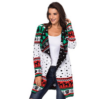 New Fashion Printed Pattern Cardigan Female Sweaters Unique Lapel Knitted Long Sleeve Slim Women Sweater Cardigan Christmas Coat