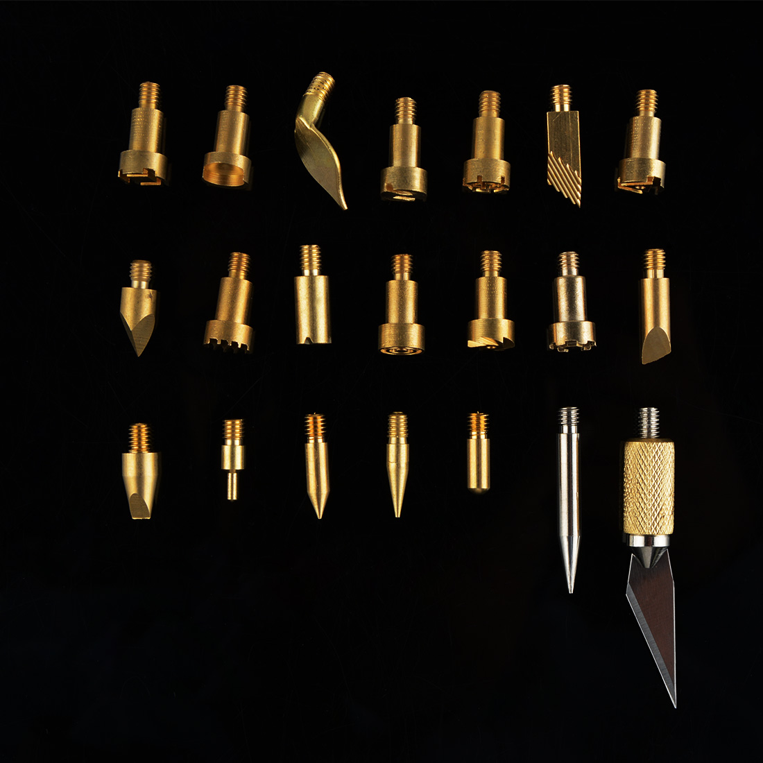 22pcs/lot Carved Iron Head Wood Burning Pen Tips Stencil Soldering Iron Tip For Pyrography Woodworking Carving Tool  Supplies