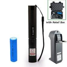 Высокой мощности лазерного фонарика 532nm указатель Сжигание матч лазерная ручка с безопасного ключа зеленый красный лазер + 18650 батарея + зарядное устройство + коробка