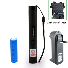 Big discount High power Laser flashlight 532nm Pointer Burning Match Laser Pen with Safe Key Green Red laser + 18650 battery+charger +Box