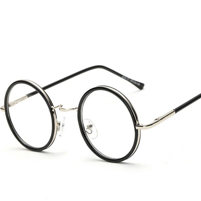 6b8ccbf660 Women Men Vintage Glasses Frame Plain Mirror Big Round Metal Optical Frame  for Girl Eyeglass Clear Lens feminino masculino-in Sunglasses from Apparel  ...