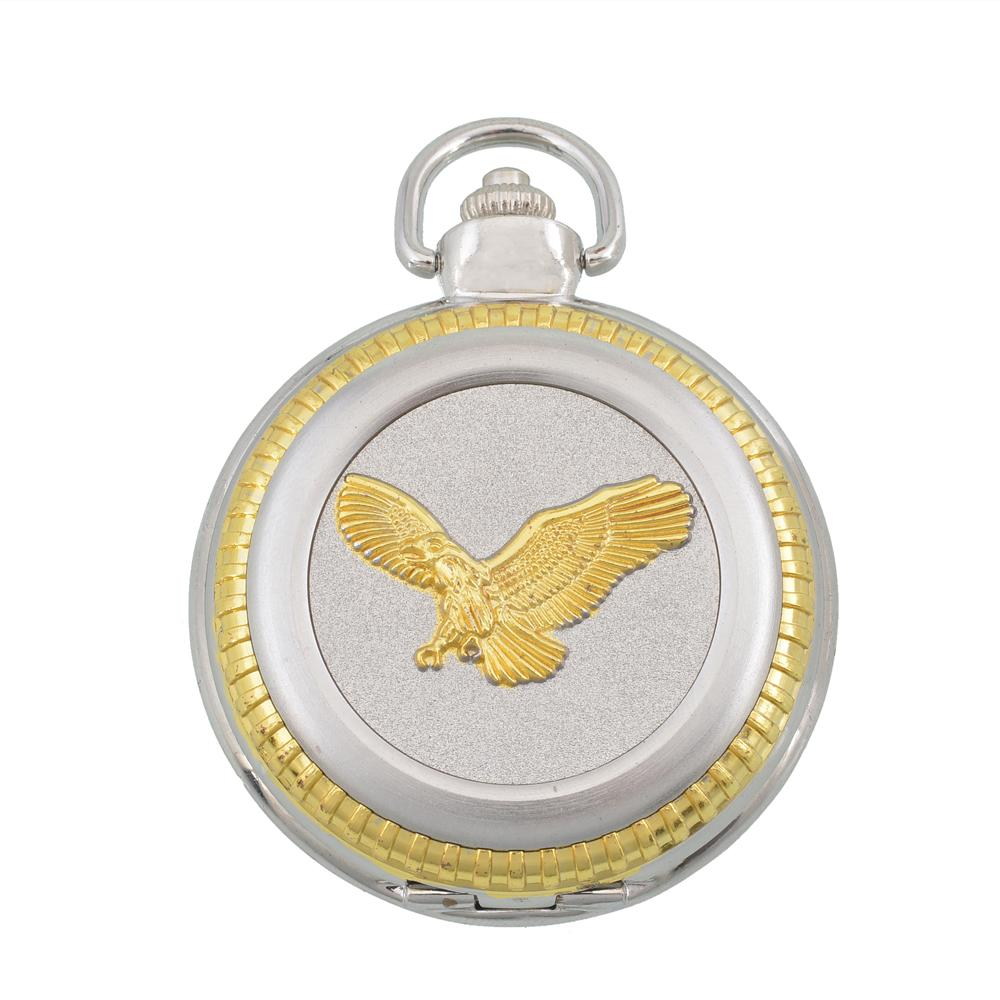 Mens pocket watches with chain images mens gold pocket watches gifts - Best Gift Round Simple Style Roman Numerals Large Dial Gold Eagle Silver Quartz Men Pocket Watch