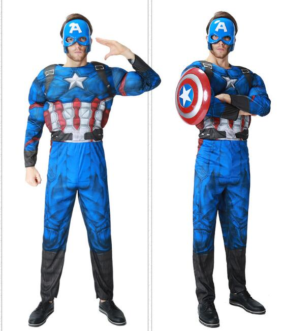Free Shipping  Captain America Civil War Cosplay Costume Captain America Costume Adult Men Halloween Costume Steve Rogers