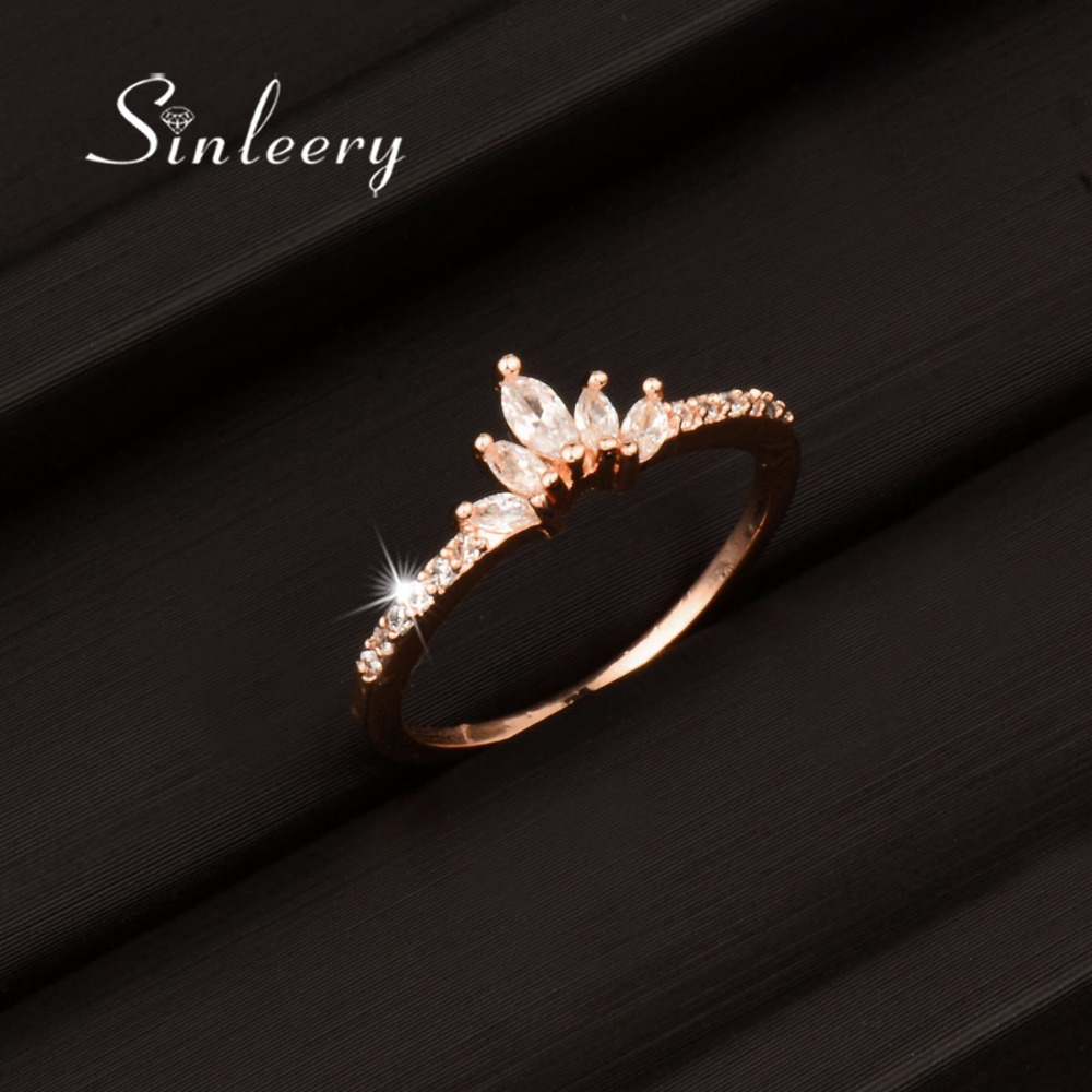 SINLEERY Romantic Princess Style Crystal Crown Rings Rose/White Gold Color Women Engagement Rings Party Jewelry Bague JZ049