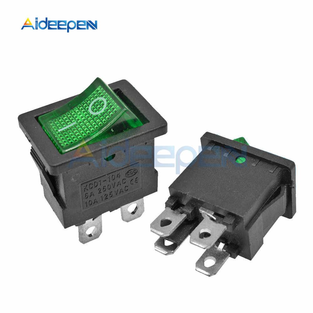 Interruptor basculante KCD1 de 5 piezas botón de encendido y apagado de barco 2 pines 3 pines 4 pines 6 pines interruptor de luz 6A 250 V/10A 125 V 15*21mm