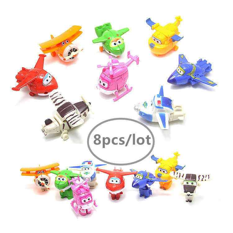8pcs/lot Super Wings Mini Airplane ABS Robot Toys Action Figures Super Wing Transformation Jet Animation toy for Christmas gift