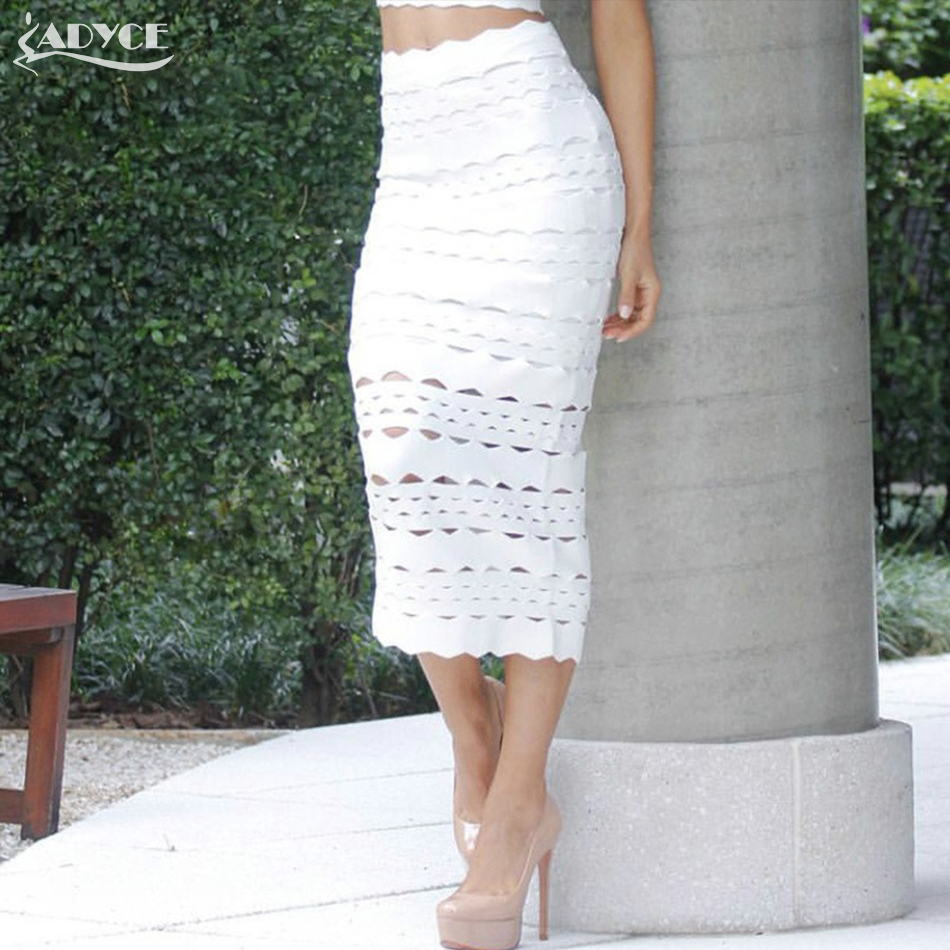 Adyce Summer 2019 New Arrival Women Bandage Pencil Skirt Sexy White Midi Hollow Out Elegant Celebrity