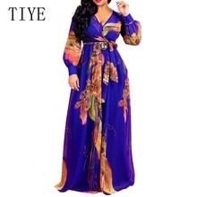 TIYE Women Autumn Long Sleeve Chiffon Maxi Dress Female Sexy V Neck  Long Sleeve Belted Party Dresses Vintage Printed Long Dress все цены
