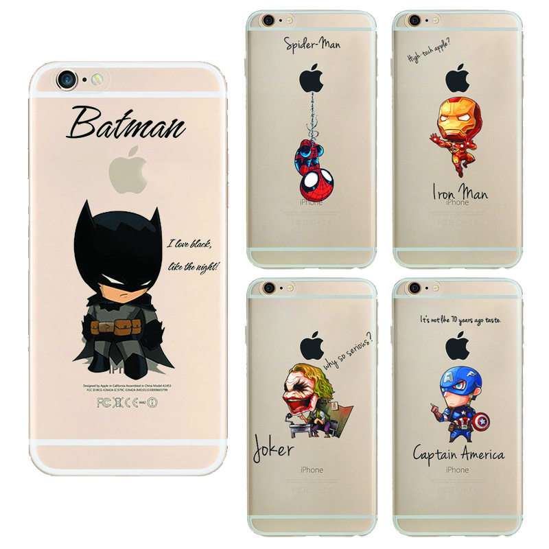 Hulk Batman Coque soft TPU cases For Apple Iphone 7 case iron Man Captain Spider Man