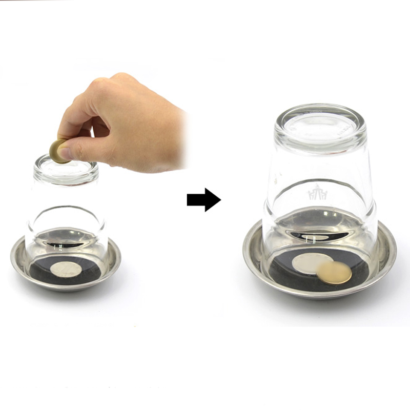 Kids Magic Trick Kit Coin Through Glass Cup Bottle Close Up Adult Pool Tea Party Toy for Girl 5 6 7 8 9 10 12 14 Easy to Do
