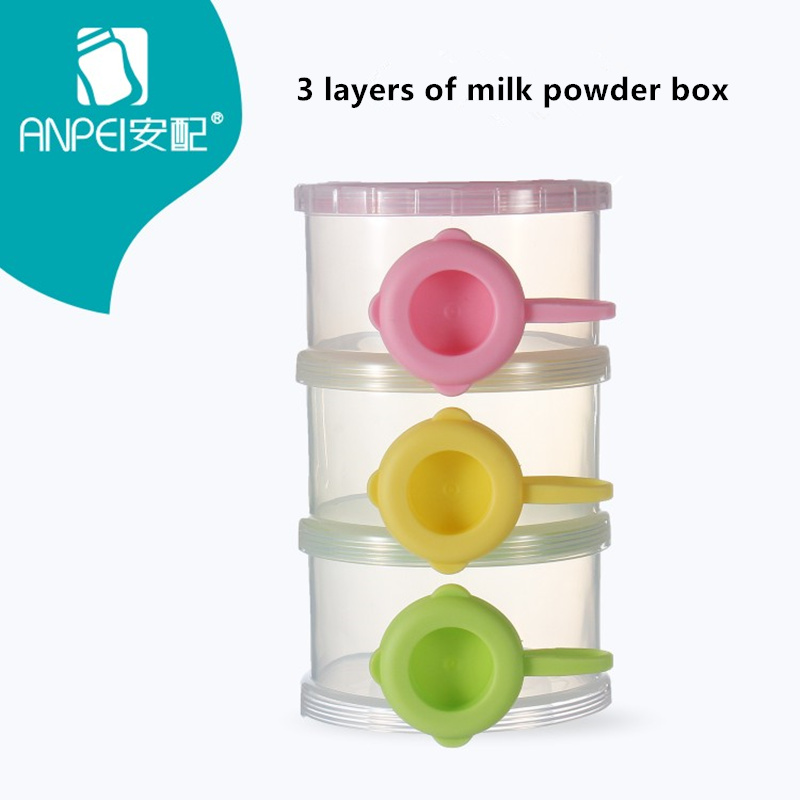 Portable Baby Infant Feeding Milk Powder & Food Bottle Container 3 Layer Grid Box Infant Storage Dispenser Travel Storage Bins