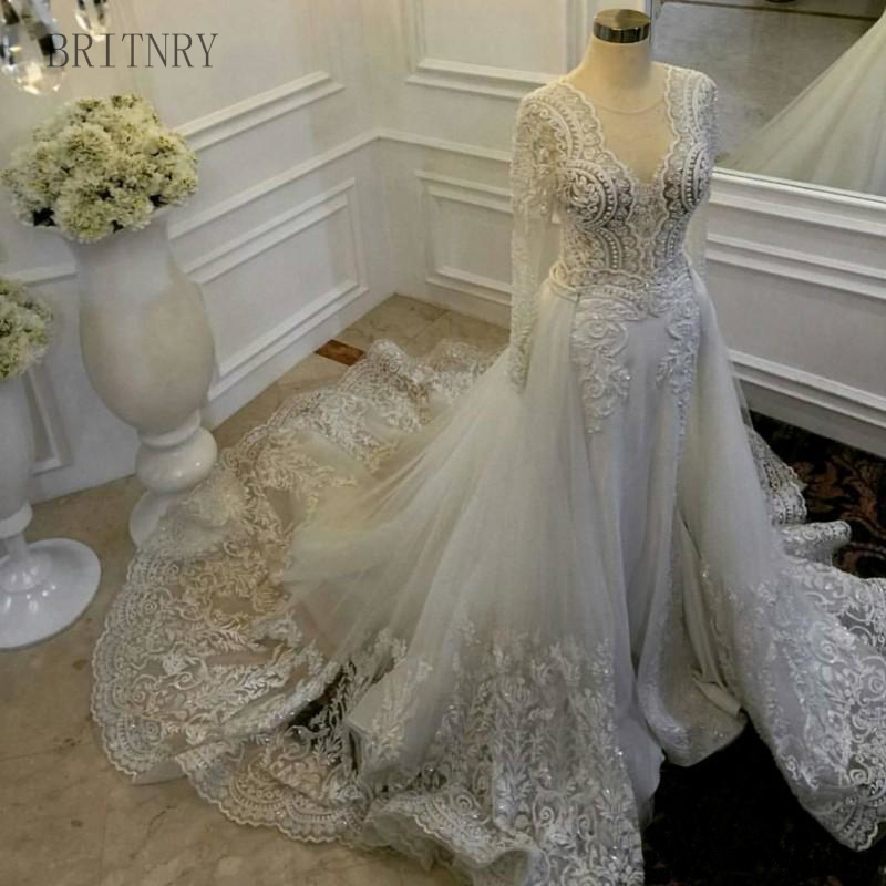 Beaded Wedding Dress With Detachable Train: Vintage Wedding Dress 2018 Long Sleeve Embroidery Lace