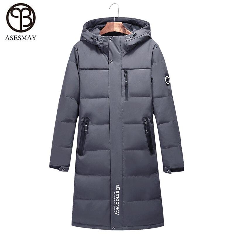 Asesmay 2018 doudoune homme hiver duvet de canard épais chaud x-long gris plume d'oie Parka Wellensteyn manteaux veste à capuche russe