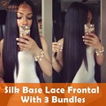 Silk Base Frontal Lace Closure 13x4 With 3 Bundles 7A Unprocessed Peruvian Straight Virgin Hair Bundles With Silk Base Frontal