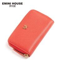 Emini جلد طبيعي المحفظة النساء pochette 4 اللون مقطع طويل الأزياء سستة المرأة عملة محفظة وسادة بلون