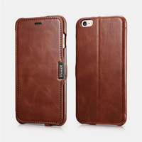 ICARER Vintage Side open Genuine Leather Protective Magnetic Stand Flip Case For iPhone 6Plus 6s Plus 5.5 Card Slots Phone Bag