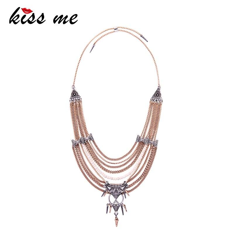 KISS ME Chunky Statement Necklace For Women Neck Bib Collar Choker Necklace Maxi Jewelry Women Bijoux vintage bib rhinestone crystal statement choker necklace for women