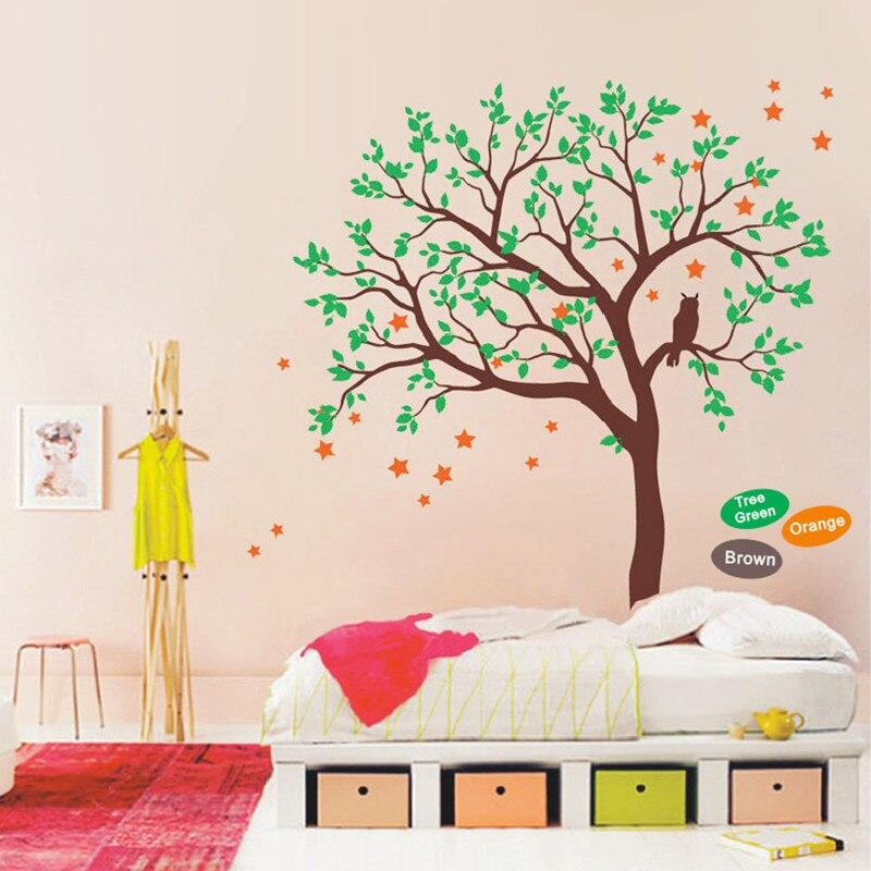 Baby Nursery Tree Wall Decal Vinyl Sticker, Owls On The Tree Wall Sticker, Stars Wallpaper, Wall Sticker For Kids Bedroom Decor