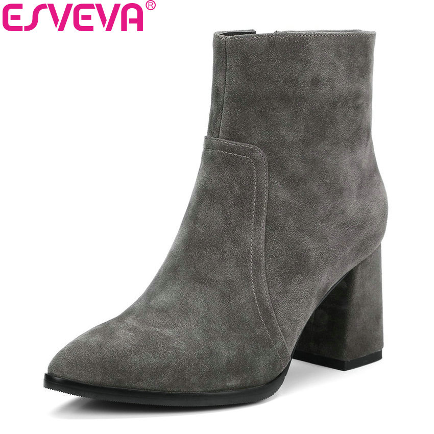 ESVEVA 2019 Women Boots Solid Cow Suede Fashion Square High Heels Ankle Boots Concise Zipper Pointed Toe Ladies Shoes Size 34-39 esveva 2018 women boots cow leather suede out door buckle square high heels ankle boots pointed toe warm fur boots size 34 39