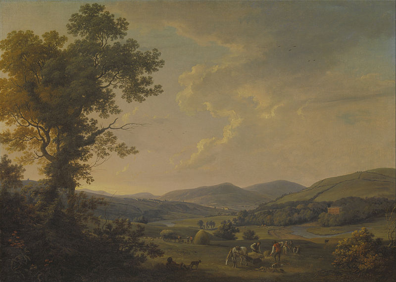 Canvas Art Prints Fabric Wall Decor Giclee Oil Painting William Ashford - Landscape <font><b>With</b></font> Haymakers Distant <font><b>Georgian</b></font> House