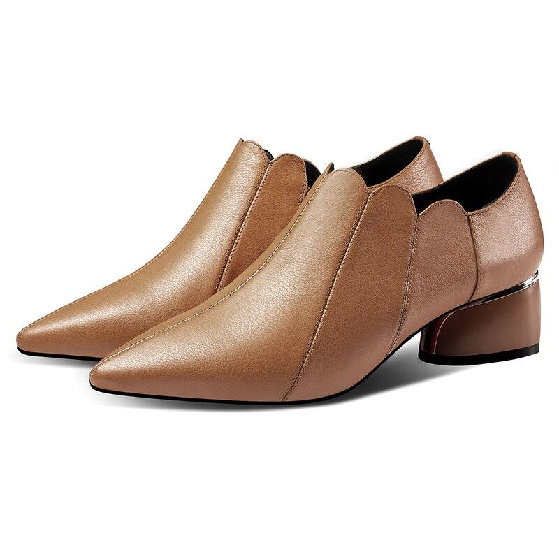Ayakk.'ten Kadın Pompaları'de Artı boyutu 42 kadın hakiki deri yan zip sonbahar yüksek top pompaları OL tarzı rahat kadın ayakkabı yüksek kaliteli elbise ayakkabı'da  Grup 2