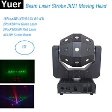 3IN1 Beam Laser Strobe Lights 16X3W Moving Head Light Football DMX512 Laser Lights DJ /Disco /Bar /Party /Show /Stage Lighting