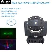 Luces estroboscópicas láser de haz 3 en 1, luz con cabezal móvil de 16x3W, luces láser DMX512 para fútbol, DJ/discoteca/Bar/fiesta/espectáculo/Iluminación de escenario