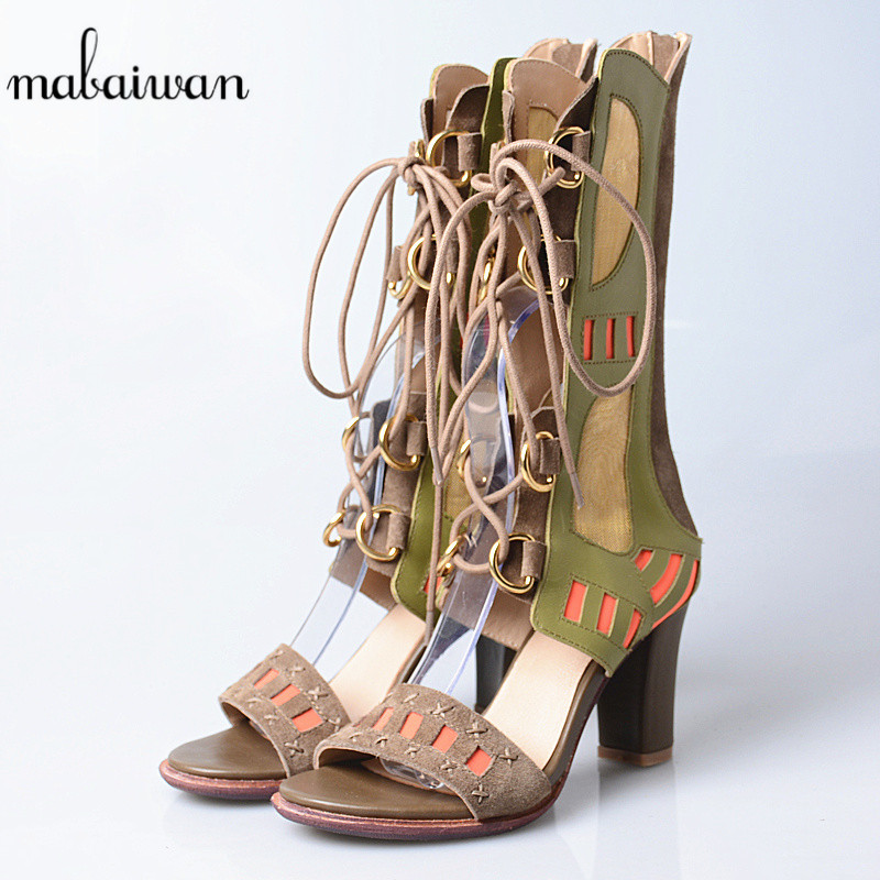 Mabaiwan Fashion Casual Women Shoes Summer Sandals Ankle Boots Genuine Leather Peep Toe Shoes Woman Gladiator Breathable Pumps mabaiwan women shoes genuine leather summer sandals casual platform wedge shoes woman rivets gladiator wedges breathable sandal
