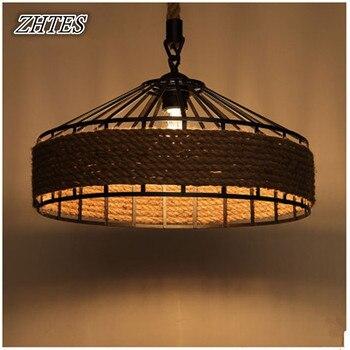 Pays américain rétro créatif lustre salon lumières Restaurant jardin chanvre lustre lampe