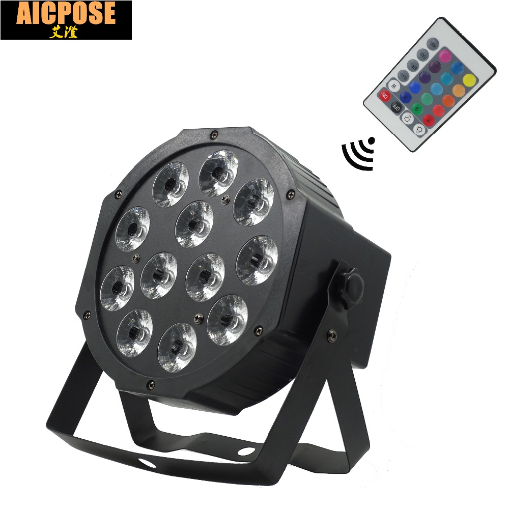 12*12w Lamp With Remote 12x12W Led Par Lights RGBW 4in1 Flat Par Led Dmx512 Disco Lights Professional Stage Dj Equipment