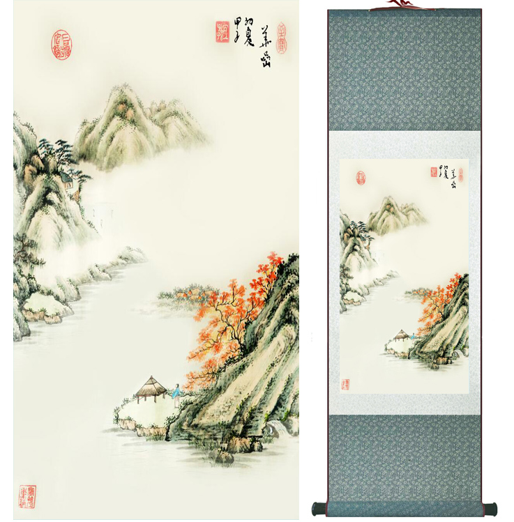 landscape painting Home Office Decoration Chinese scroll painting mountain and River paintingPrinted painting042206