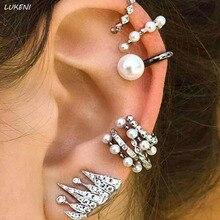 9 Pcs/set Hot Sale Bohemian Ear Cuff Simulated Pearl Ear Clip Earrings Set Women Wedding Ear Jewelry