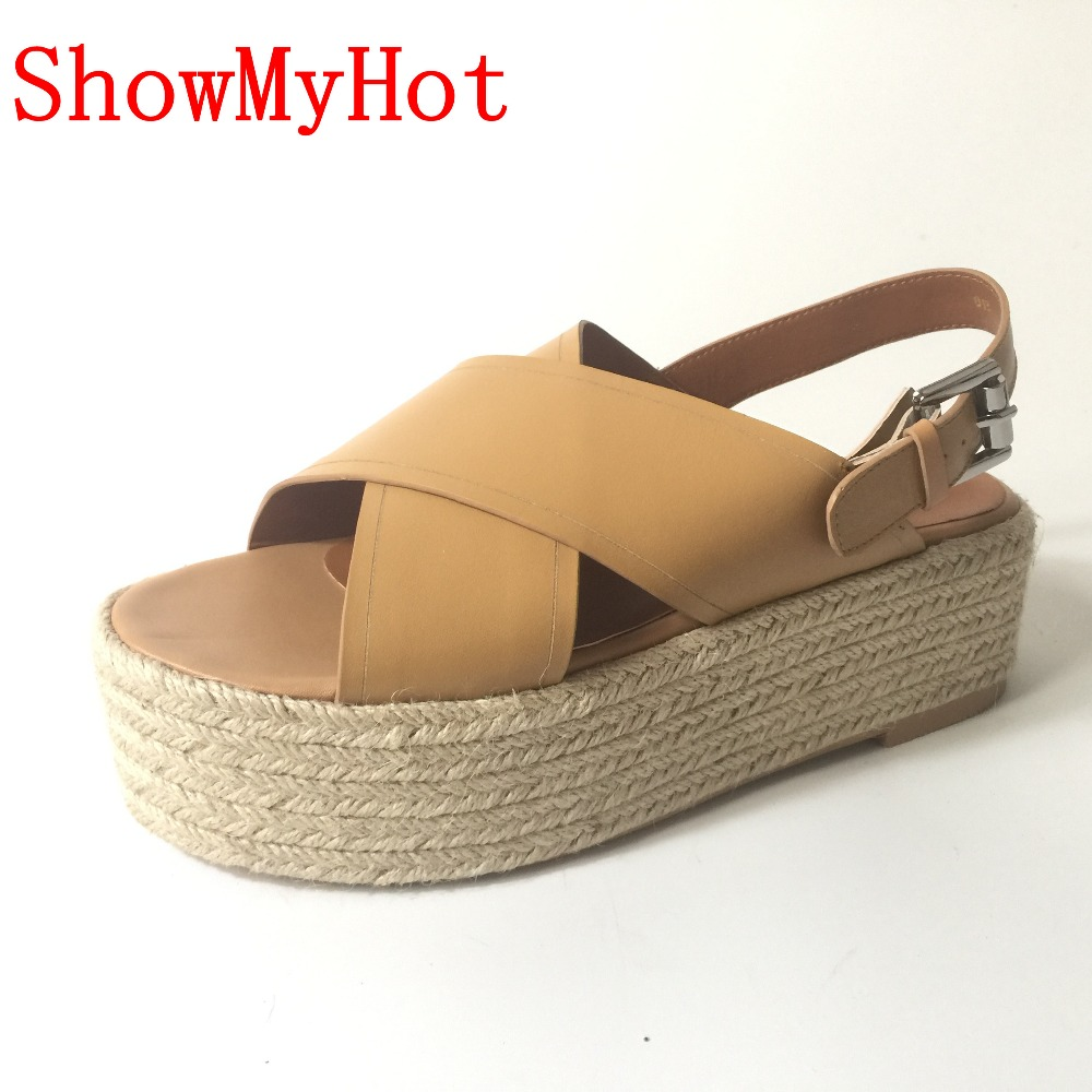 ShowMyHot Espadrille Wedge Sandals Summer Roman Bohemian Womens High Heels Wedges Open Toe Sandals Ankle Strap