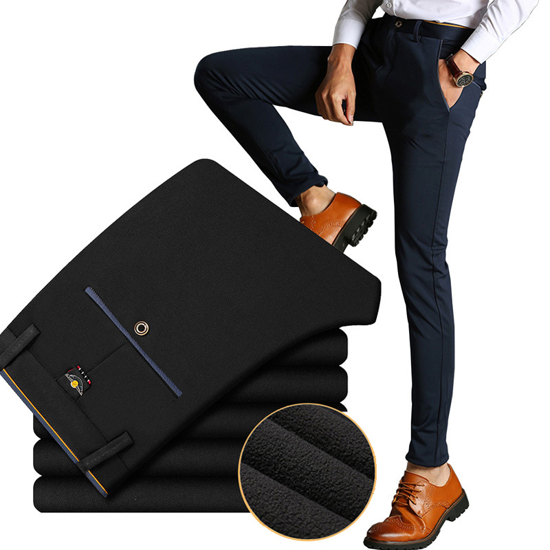 Winter men casual pants with velvet thicken business youth male Elastic trousers fleece slim long suits pants men's clothing