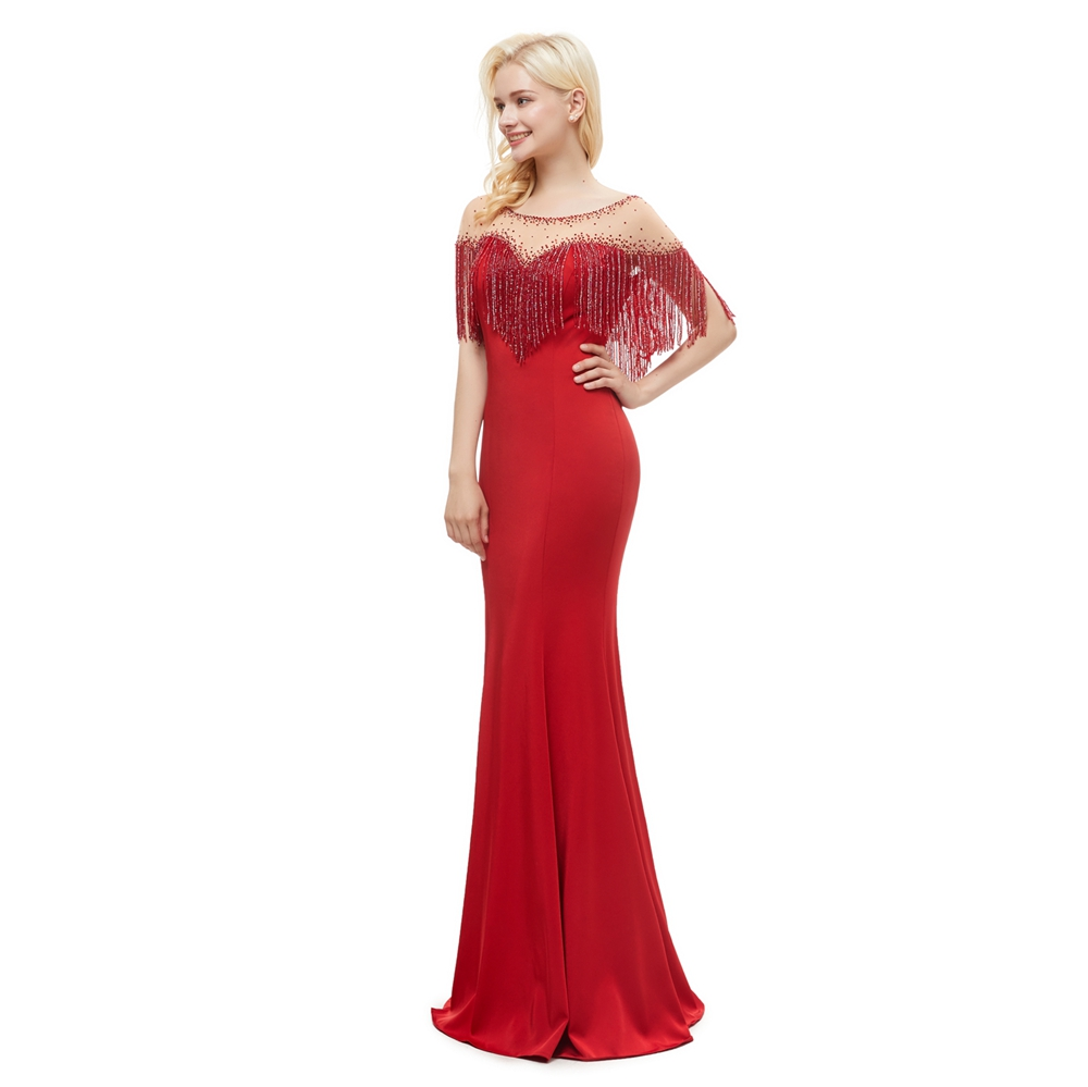 Formal Gown Evening Dresses with Wrap 2019 Red Jersey Elastic Mermaid Long Floor Length Sheer Neck Beading Crystal Women Wear