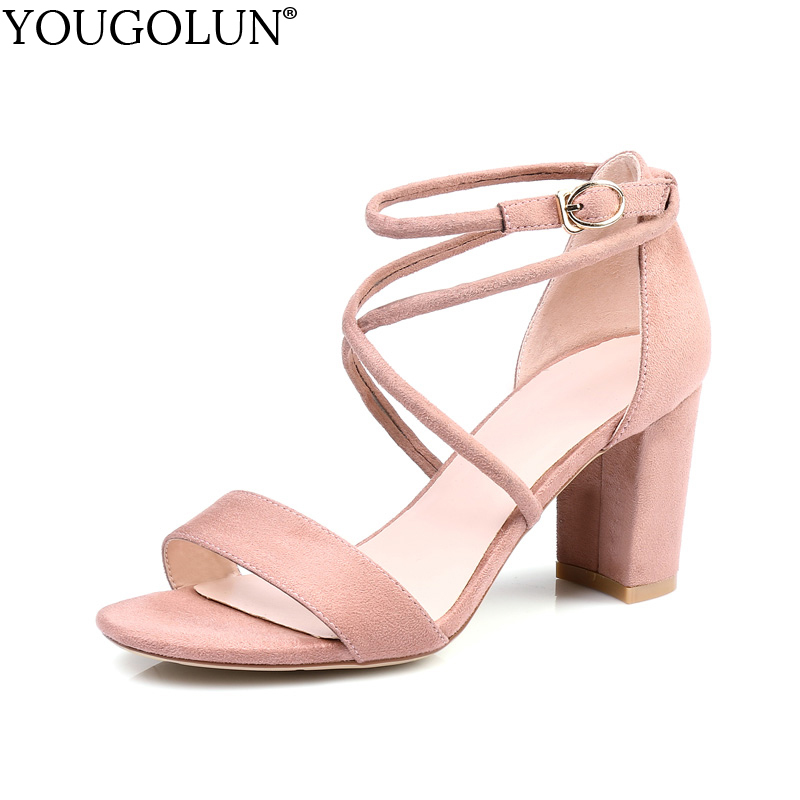 YOUGOLUN Women Ankle Strap Sandals Summer Sexy Ladies High Thick Heels 7 cm Woman Black Pink Yellow Open toe Party Shoes #A-113 new ankle strap open toe high heels sexy ladies shoe women summer gold silver black sequins leather sexy sandals shoes smybk 022