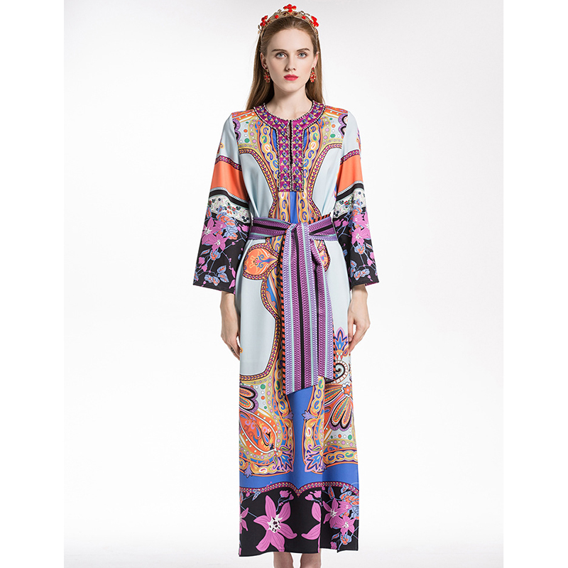 HIGH QUALITY New Fashion 2018 Designer Runway Dress Women's Long Sleeve Diamonds Collar Gorgeous Floral Printed Long Dress high collar long sleeve printed dress