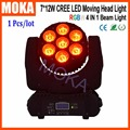 RGBW 7x12W 4IN1 LED Cree Beam Spot Moving Head Stage Club Light DMX512 13/17 CH Beam Angle Optional 23 Degree Lighting
