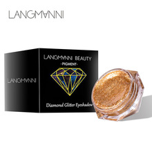 LANGMANNI 6 Colors Diamond Pearl Liquid Eyeshadow Glossy Gold Metal Female Cosmetics