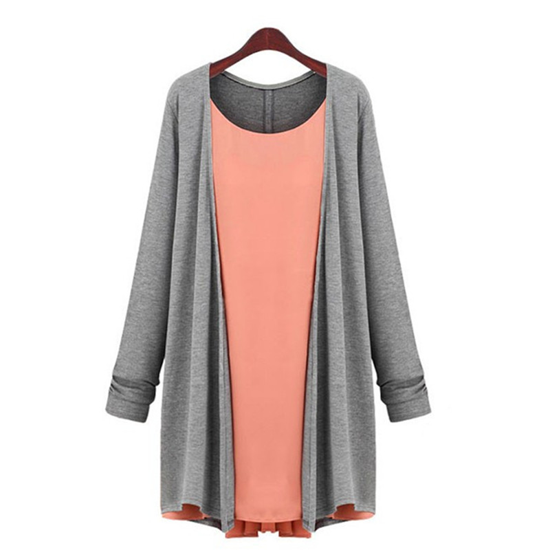 Spring Dresses XL-4XL Women Fashion Stitching Dress Patchwork Knitwear Knitted Chiffon Long Sleeve Lady Casual Pleated Cardigan