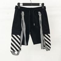 Shorts Men Beach Brand Summer 2017 High Quality Men Shorts Fashion Striped Ribbon Knee Length Drawstring