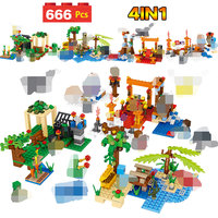 Christmas Gifts Technic LegoINGLYs Minecrafted Beach Resort House Village Toys For Children DIY Bricks Mini Action Figures