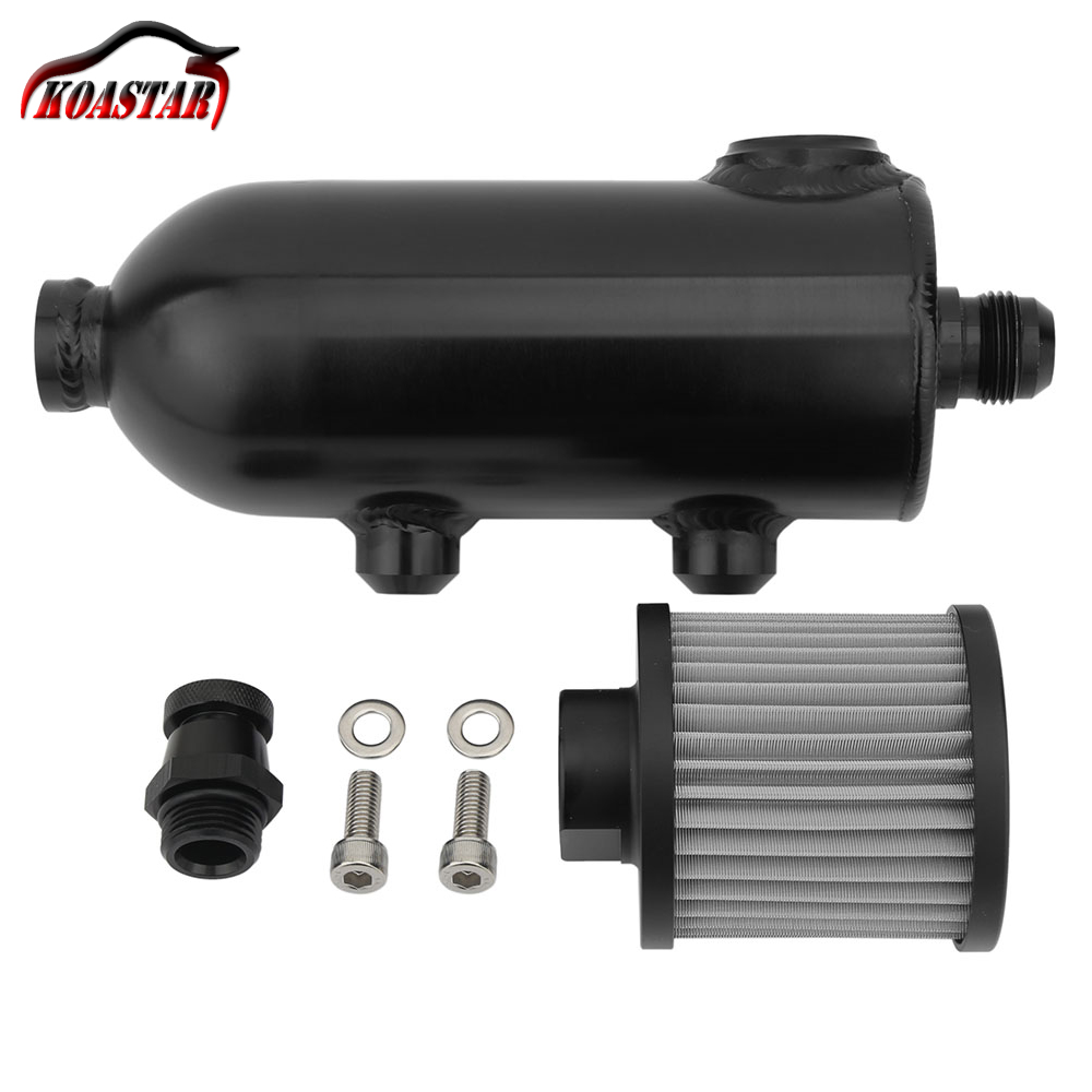 Kyostar Universal 1L Oil Catch Tank Aluminum Black Oil Catch Can with Breather /& Drain Tap