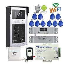 Wireless Wifi LAN RJ45 de Vídeo Teléfono de Puerta de Intercomunicación Key Touch Cámara de timbre de Teléfono de Acceso de RFID Teclado Eléctrico Gota Perno bloqueo