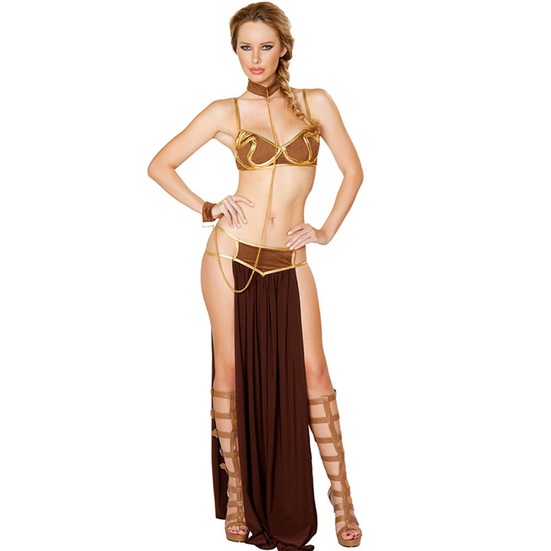 Emas Bra dan Neckchain Sexy Baru Karnaval Star Wars Cosplay Sexy Princess Leia Budak Kostum L15366