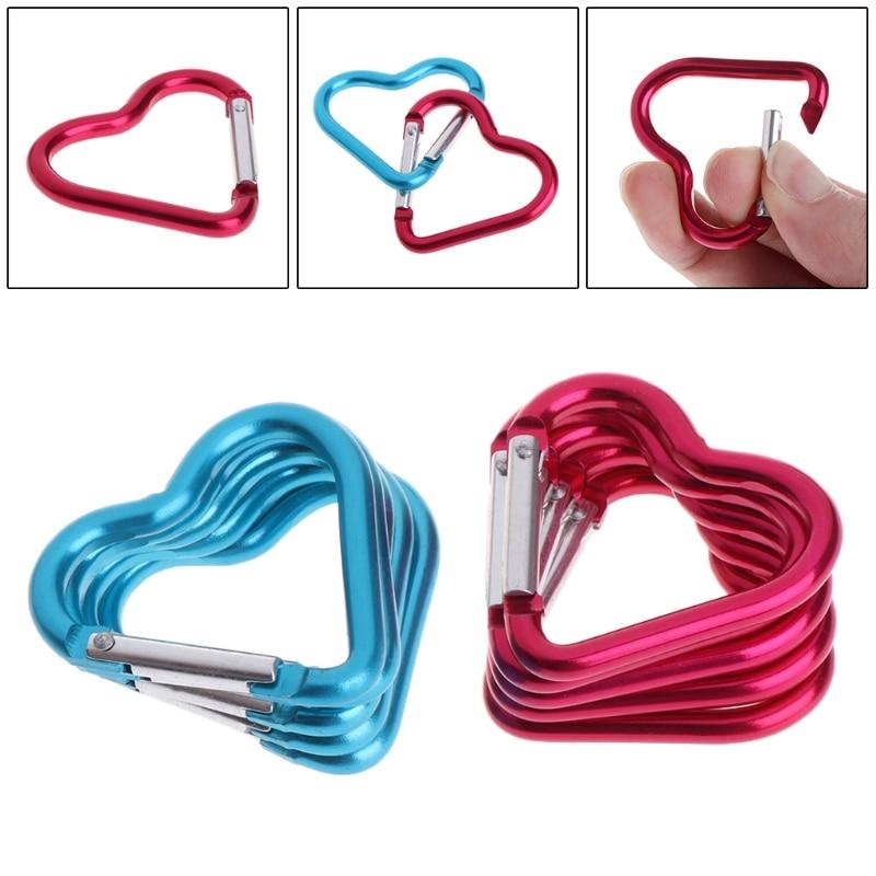10Pcs Outdoor Ring Aluminum Heart KeyChain Hook Clip Climbing Camping Outdoor