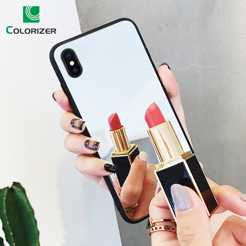 Glass Mirror Phone <font><b>Case</b></font> For <font><b>iPhone</b></font> 7 <font><b>Plus</b></font> 8 6 <font><b>6S</b></font> <font><b>Plus</b></font> X XS Max XR <font><b>Case</b></font> Luxury Cosmetic Mirror Girly Glass + TPU Back Cover Coque image
